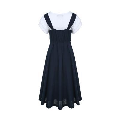 lace detail t-shirt white & shirring sleeveless dress navy